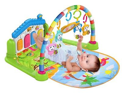 Baby Gym Play Mat Lay & Play 3 in 1 Fitness Music And Lights Fun Piano Green e