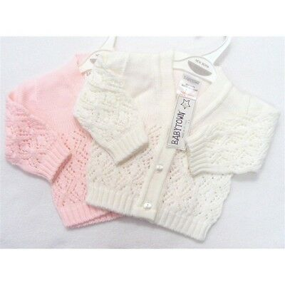 Baby Girls Diamond Knit Lacy Cardigan Pink Or White Newborn Up To 24 Month