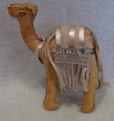 """5"""" Hand Crafted Leather Camel Figurine w/fringe and Sequins"""