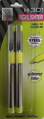 (2x-4 total) Zebra H-301 Stainless Steel Highlighter, Yellow, 2-Pack (76057)