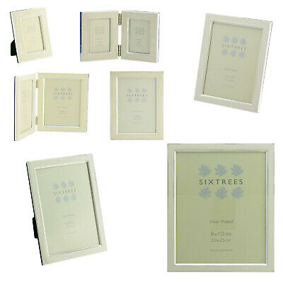 """Multipack Sixtrees Zurich White Enamel & Silver Plate Photo Frames 3""""x2""""-10""""x8"""""""