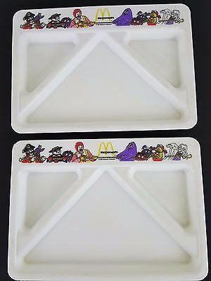 McDonald's Vtg 1987 Set 2 White Plastic 6x9 Kids Divided Luncheon Food Trays
