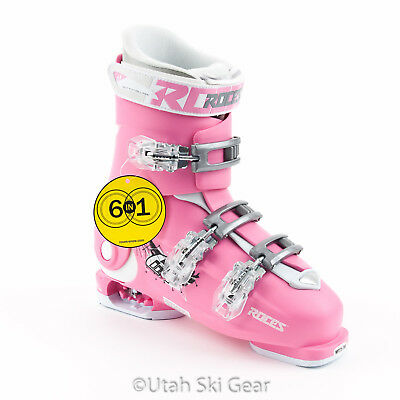 Roces Adjustable Kid's Ski Boots Pink/White Girls Youth Junior 22.5-25.5 New