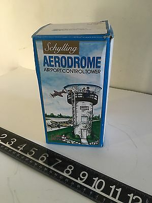 Vintage Schylling Tinplate Toy Aerodrome Airport Control Tower Wind-Up Orig Box