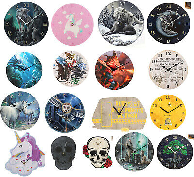 Fantasy Wall Clock Home Kitchen Room Unicorn dragon Wolf Skull mermaid owl