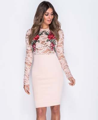 ~ELAINA~ Nude Floral Lace Celeb Bodycon Evening Party Dress Size 8 10 12 14