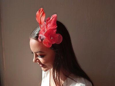 Coral Feather Fascinator Flower Diamante Style Hair Clip & Brooch pin Weddings