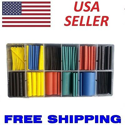 NEW 280PCS 5 Colors 8 Sizes Assorted 2:1 Heat Shrink Tubing Wrap Sleeve Kit