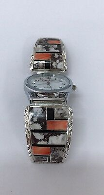 Native American Sterling Silver Hand Made With Crazy Horse Stone Mans Watch