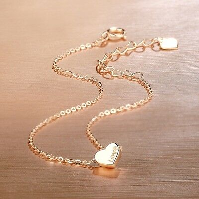 "9.45"" New Pure 18k Rose Gold Anklet Bracelet Women Lucky Heart With O Chain 1.2g"