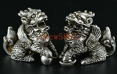 A Pair Decorated Rare Miao Silver Carve Arrogance Lifelike Kylin Lucky Statue NR