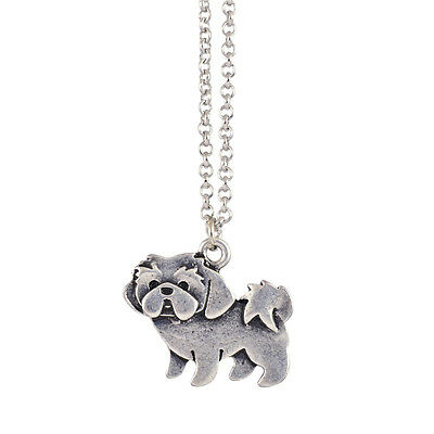 In Your Dreams Shih Tzu Necklace, Silver Plated Dog Pet Pendant