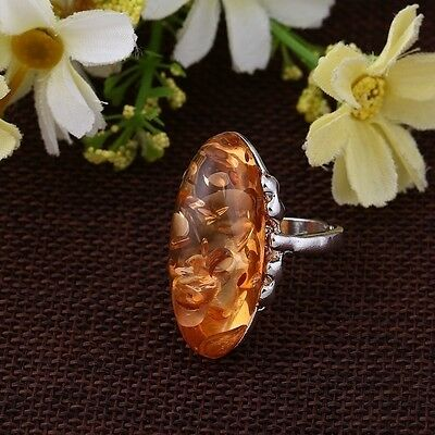 NEW Ring Vintage Woman Jewelry Ring Amber Colors Antique Silver Ring 6-10