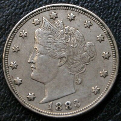 1883 Liberty V Nickel AU Almost Uncirculated 5C Coin