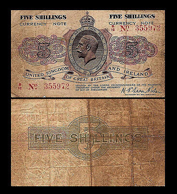 2x 5 English Shillings - Issue ND 1919 George V at Center - 2 Banknotes - 23
