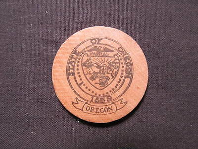 Vintage State Of Oregon Wooden Nickel token - Oregon State Wooden Coin