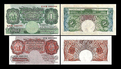* * 10 Shillings + 1 English Pound - Issue ND 1948-1960 - 2 Banknotes - 05 * *