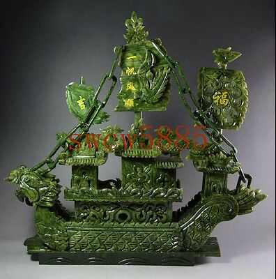 Large Chinese Hand Carved 100% Natural Jade Dragon Incense statue Dragon Boat NR