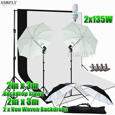 Photo Studio Umbrella Lighting Light Stand Video Backdrop Background Support Kit