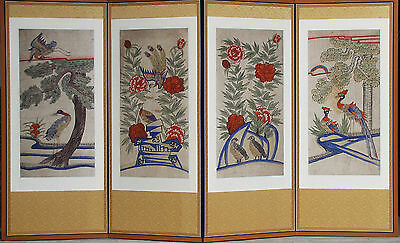 A Fine Korean Folk Painting with Bird and Flower 4 Panel Screen-19th C.: