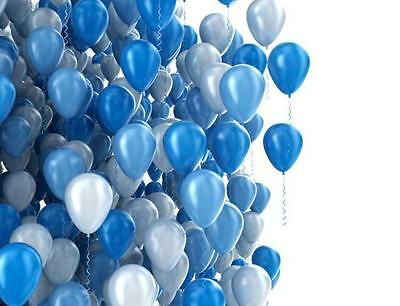Silver, Blue & White Balloons (45Pce), Helium Quality/party Decorations/supplies