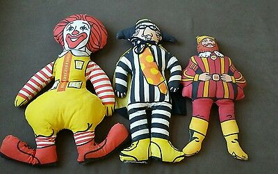 Vintage Fast Food Advertising Plush Dolls Hamburgler~Burger King ~McDonald's