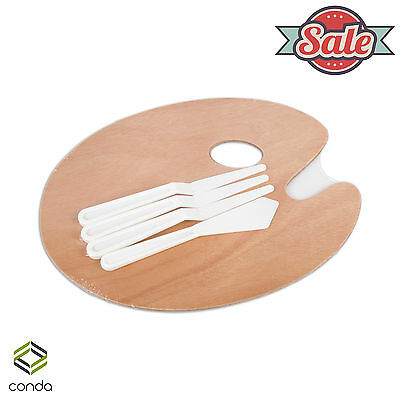 Conda Oval Wood Palette Classic with 4-Piece Palette Knives Set