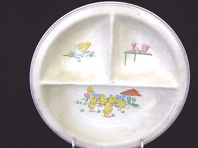 Vintage, Collectible, Divided Child's Dish with Baby Chicks