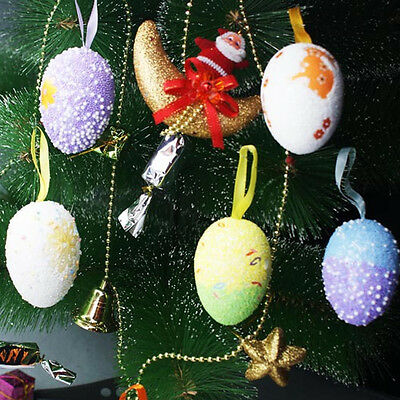 6Pcs Foam Colorful Easter Eggs Hanging Egg Kid Children Gift Toy Home Decoration