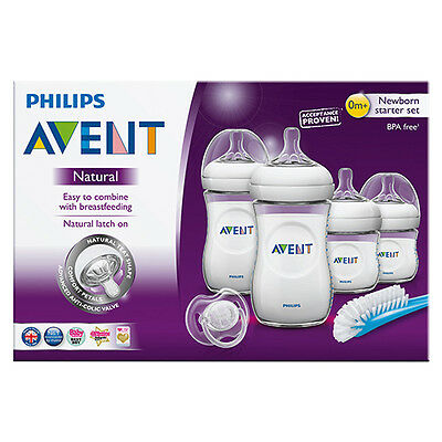 PHILIPS AVENT NATURAL NEWBORN STARTER SET BOTTLE BRUSH TEATS BOTTLES 0 months+