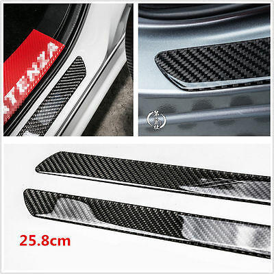 2×Universal Real Carbon Fiber Car Door Scuff Plate Sill Cover Panel Protect Trim
