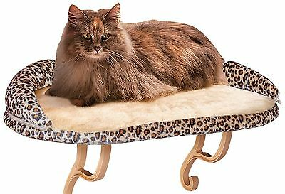 Deluxe Window Perch Kitty Sill with Bolster KandH Manufacturing  Leopard New