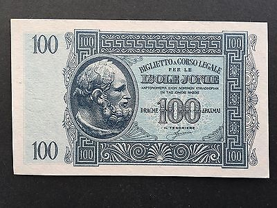 Greece 100 Drachmai PM15 Isole Jonie WW2 Issued 1941 Uncirculated UNC
