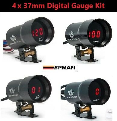 4 x 37mm Digital Gauge Kit *RED LED* Oil Water Temp Pressure Boost Exhaust EGT