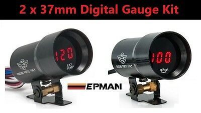 2 x 37mm Digital Gauge Kit *RED LED* Boost EGT Patrol Hilux Ranger Diesel 4WD VW