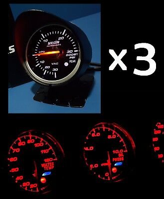 3 x 60mm Red/White Gauge Kit *Skyline R32 33 34 GTR Silvia 200 180 SX SS V8 XR*