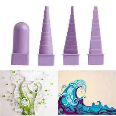4pc Paper Quilling Border Buddy Bobbin Tower Quilled Creation Craft DIY Tool Set