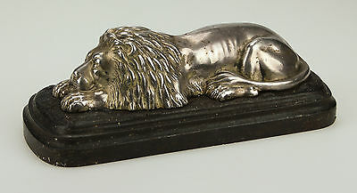 FINE ANTIQUE 19thC CAST IRON DOOR STOP / WEIGHT WITH SILVERED LION - BROAD ARROW