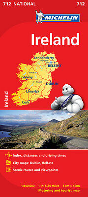 Ireland Road Map - National Map 712 by Michelin - Folded Sheet Map
