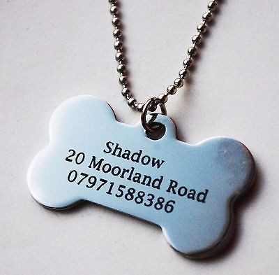 black engraved Dog Bone Shaped Stainless Steel Promotional Dog tag