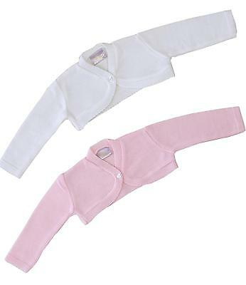 BabyPrem Baby Girls Pink White Plain Knit Bolero Fancy Cardigan Cardi Sweater