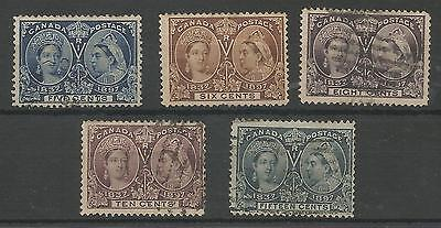 Canada Selection Of 5 Qv 1897 Jubilees 4 Are Used I Is Mounted Mint Cat £390