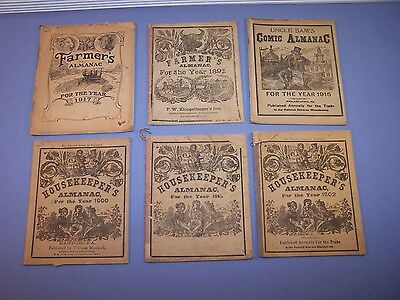 Lot Of 6 Antique Book Housekeepers Farmers Uncle Sam's Comic Almanac