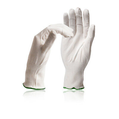 Polyester Knitted Liner Glove - Hand Insulation Thermal Under Gloves - White Lot