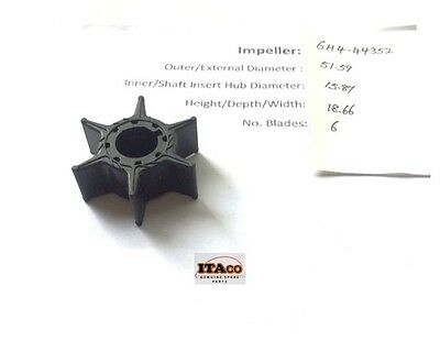 Water Pump IMPELLER 6H4-44352 676 18-3068 fit Yamaha Outboard 25HP- 50HP 3cyl 2T
