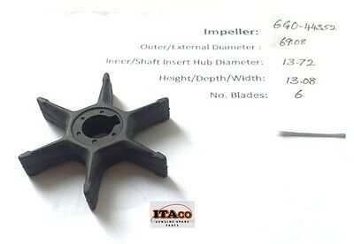Pump Impeller 6G0-44352 6GO 656-44352 01 02 03 for Yamaha Outboard 20HP 25HP A B
