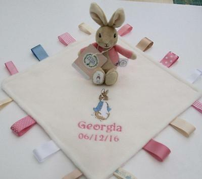 Flopsy Bunny Rattle / Peter Rabbit Taggy Blanket, Personalised Unique Baby Gift!