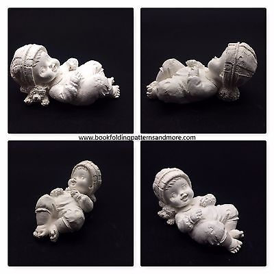 5 x Baby with teddy pillow, Memorial Baby, Plaster of paris , Craft supply