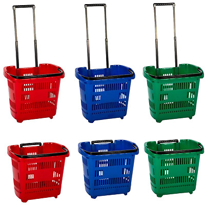 15x Brand New Shopping Basket with Wheels and Telescopic Handle