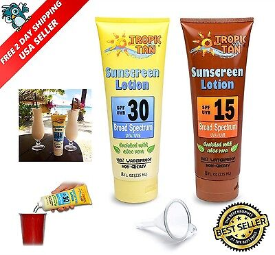 2 Pack Tropical Hidden Alcohol Flask Disguised As Sun Tan Lotion Container Drink